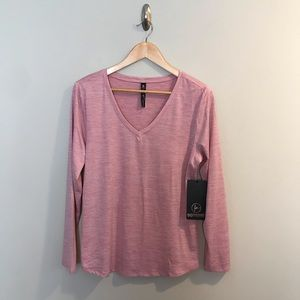 NEW 90 Degree by Reflex Pink Long Sleeve Shirt L
